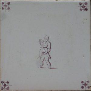 Antieke kinderspeltegel, op de rug