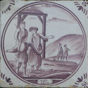 Antieke Bijbeltegel, de arbeiders in de wijngaard
