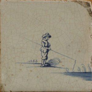 Antieke kinderspeltegel, vissen