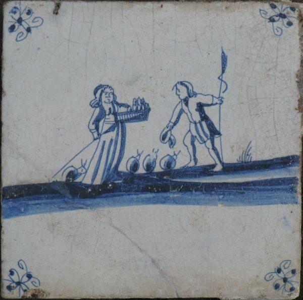 antieke mythologische tegel, , herdertaferelen
