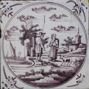 antieke tegel, herdertaferelen