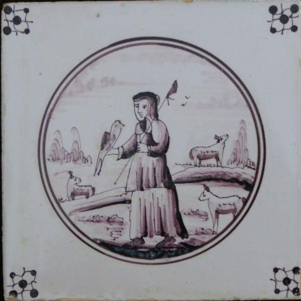 antieke figuurtegel, herder