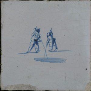 Antieke kinderspeltegel, polsstokspringen