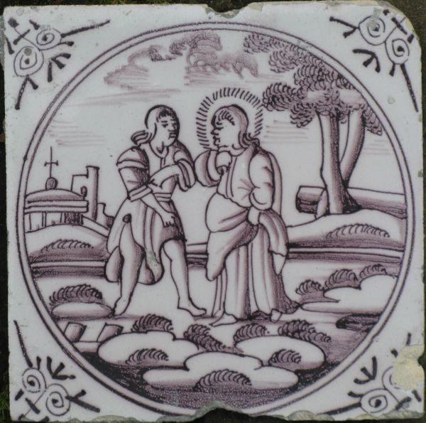 Antieke Bijbeltegel, genezing verdorde hand
