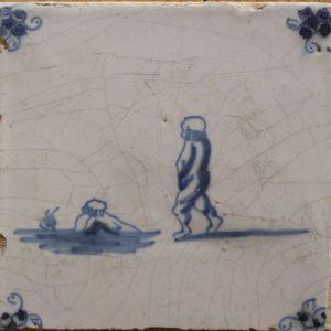 Antieke kinderspeltegel, zwemmen