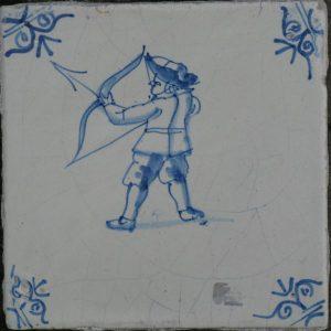 antieke figuurtegel, krijgsman