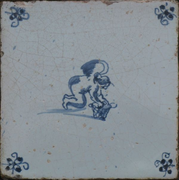 antieke mythologische tegel, cupido