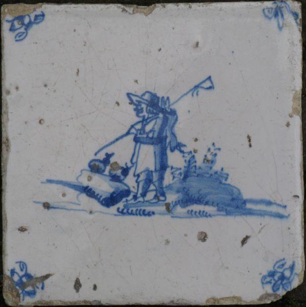 antieke figuurtegel, visser