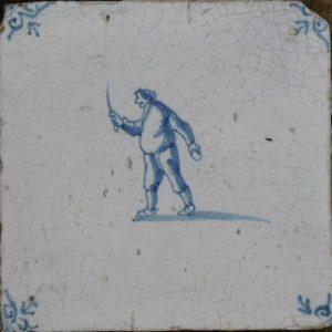antieke figuurtegel, slager