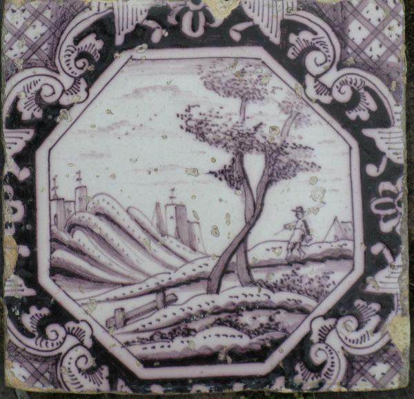 antieke landschapstegel, bomen