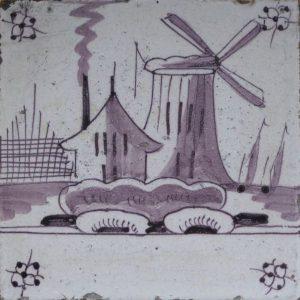 antieke landschapstegel, mangaan