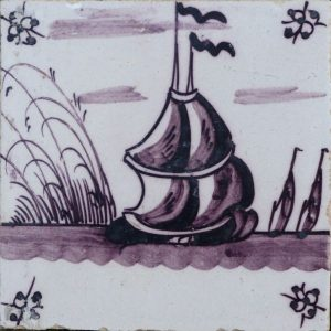 antieke landschapstegel,schip