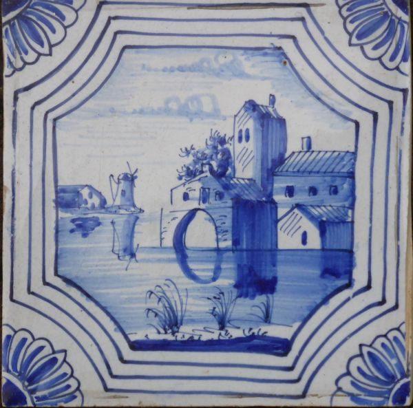 antieke landschapstegel, waterpoort