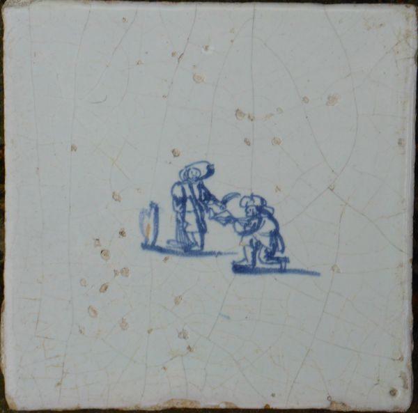 antieke kinderspeltegel, boogschieten