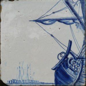 antiek tegeltableau in delfts blauw