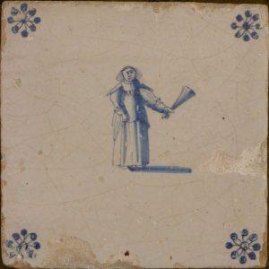 antieke tegel met figuur uit de gouden eeuw