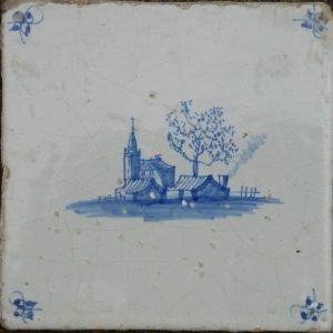 antieke landschapstegel