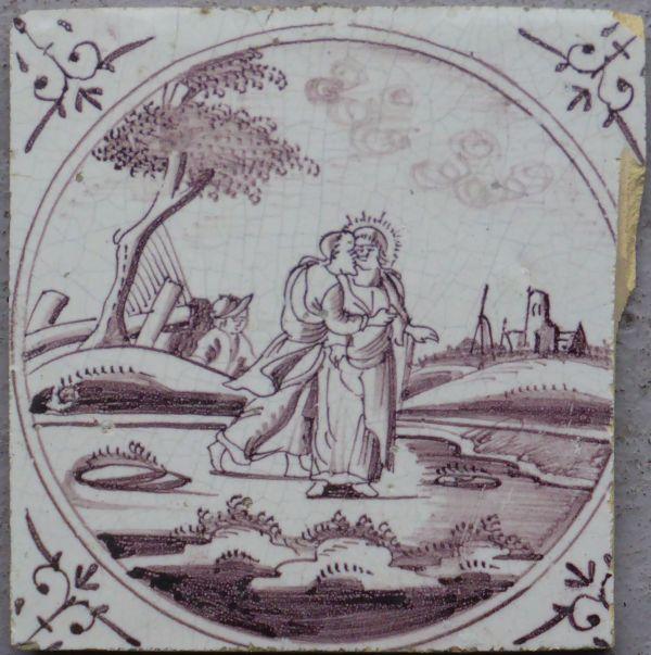 Van de oorspronkelijke prent is Jezus en een soldaat afgebeeld. Petrus ontbreekt (Pluis)