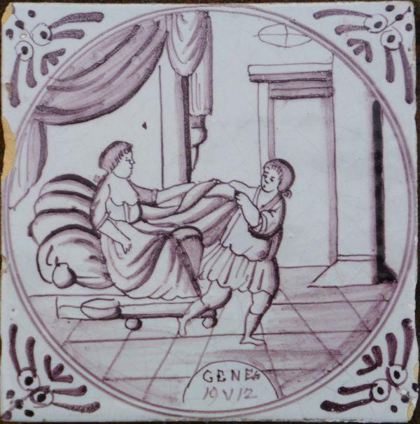 bijbeltegel de verleiding jozef antieke tegels de
